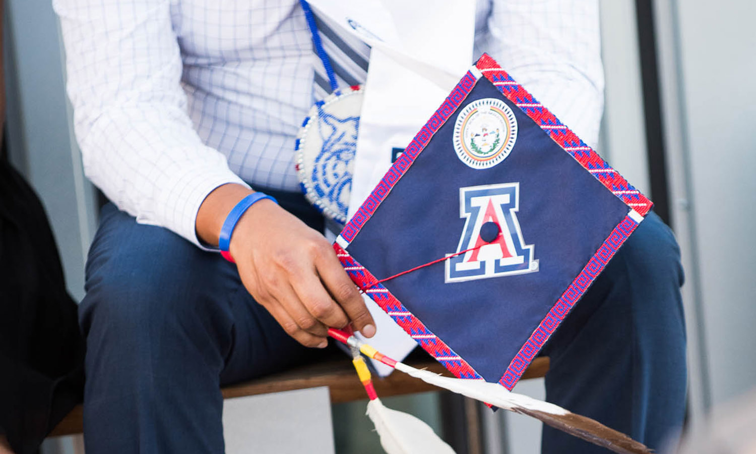 Graduation cap with Native American decor