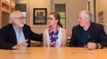 UA President Robbins meets with Pulitzer Prize-winning photographer David Hume Kennerly and wife.