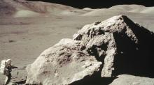 Apollo 17 onboard, scientist and astronaut Harrison H. Schmitt collects rock samples.