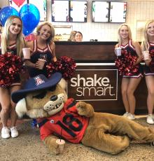 University of Arizona cheer at the Shake Smart grand opening.