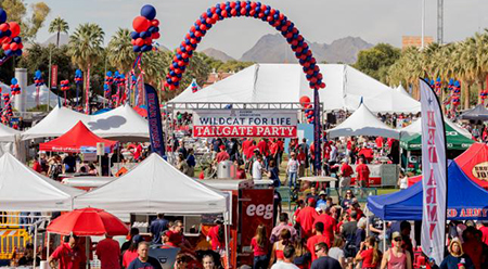 Aerial view of the Mall and the Wildcat for Life Tailgate Party